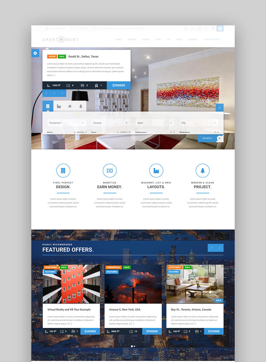 Apartment WP single property WordPress theme