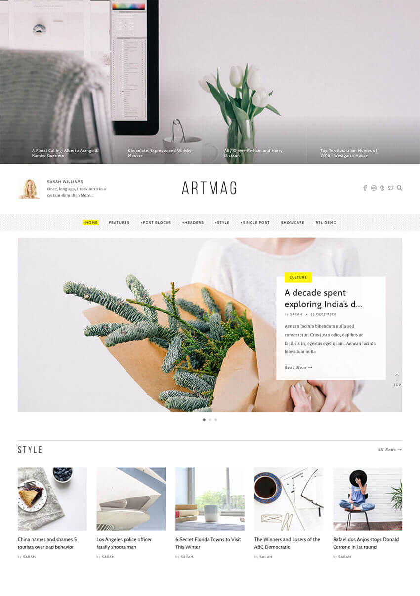 ArtMag Clean WordPress Blog Writer Magazine Theme