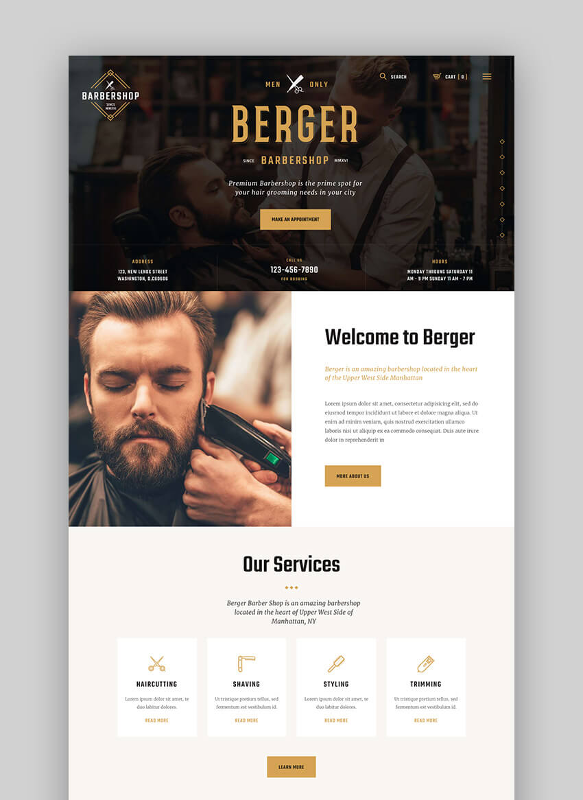Berger Barber Shop WordPress Salon Theme