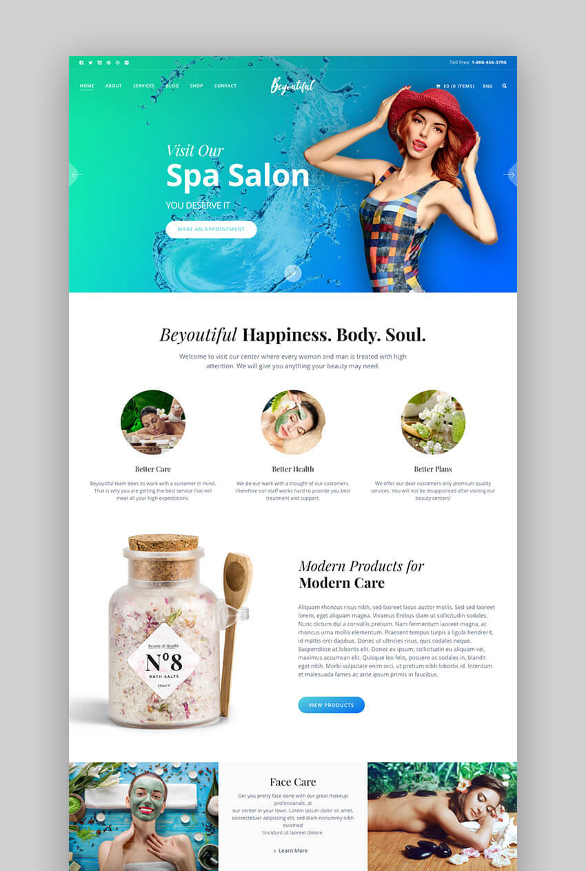 Beyoutiful spa and beauty WordPress theme