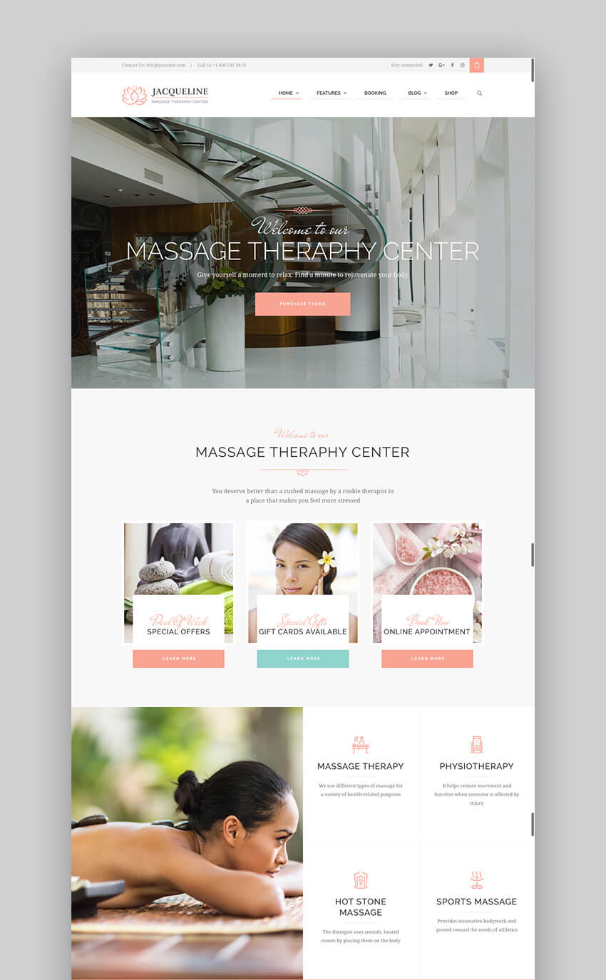 Jacqueline Beautiful Spa and Massage Salon WordPress Theme