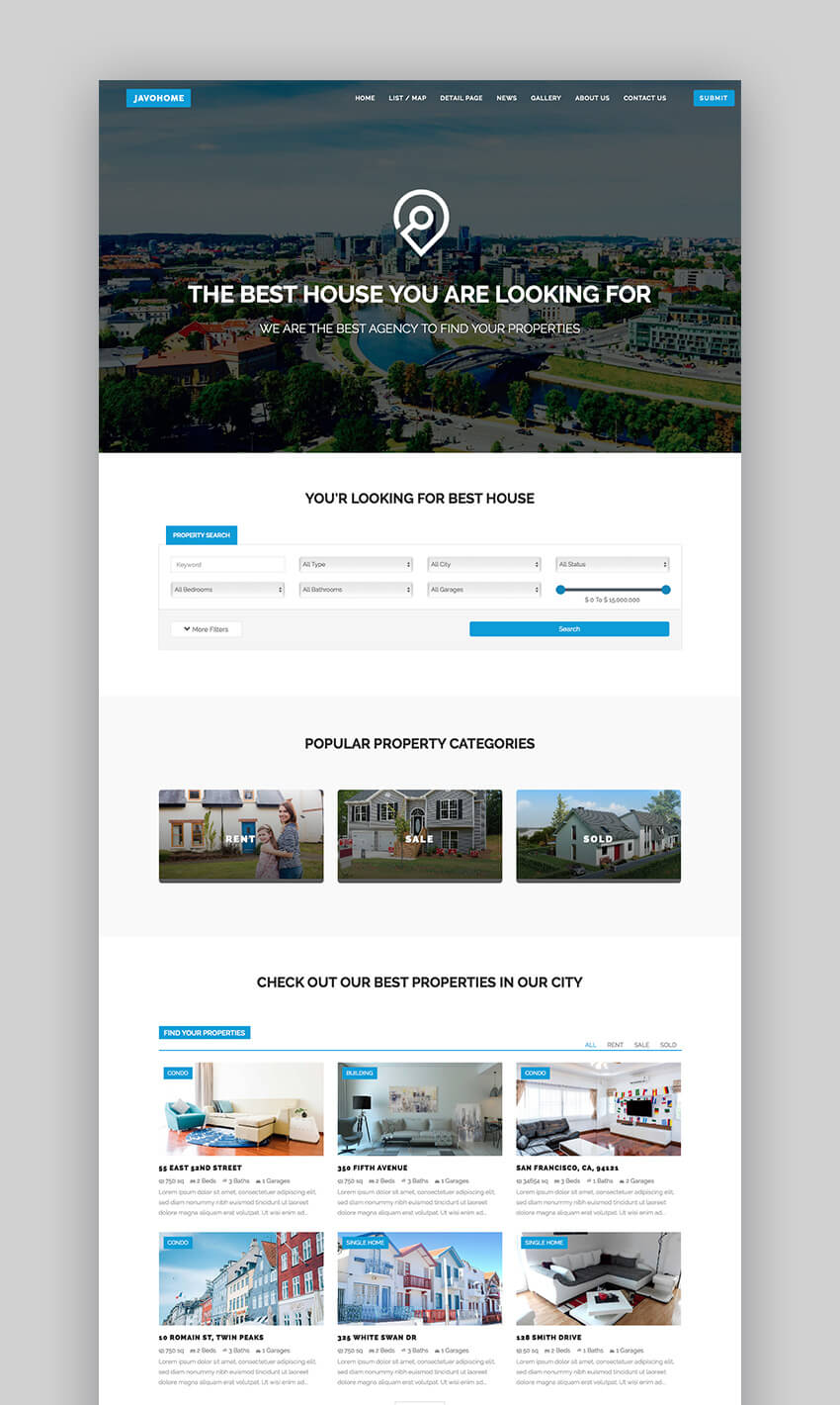 Javo Home fast real estate WordPress theme