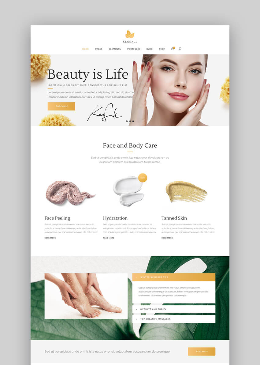 Kendall Spa and Beauty Salon WordPress Theme