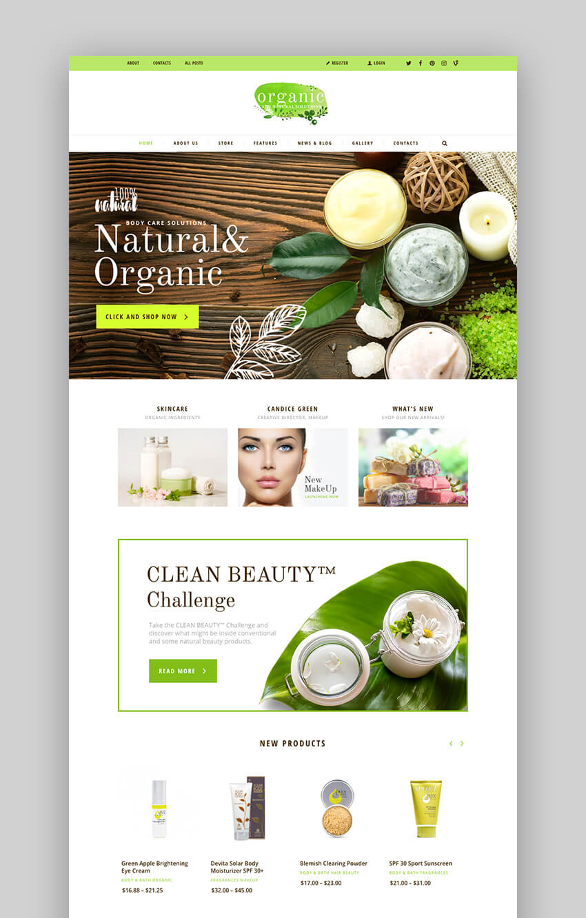 organic beauty store WooCommerce WordPress theme
