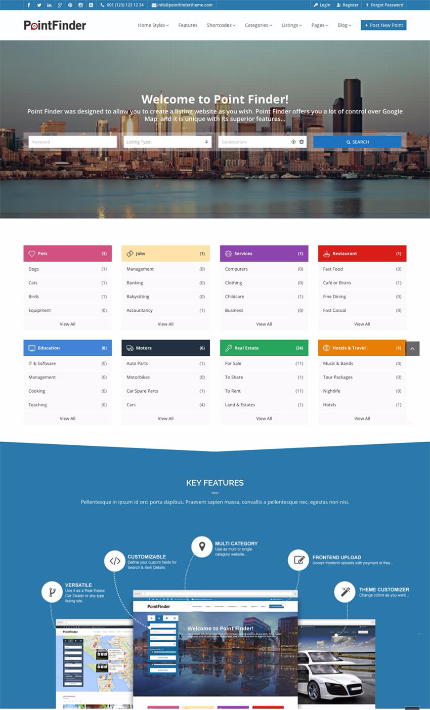 Point Finder Business Directory WP Site Theme