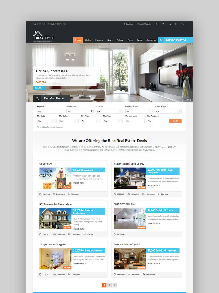 Real Homes clean WordPress Real Estate template