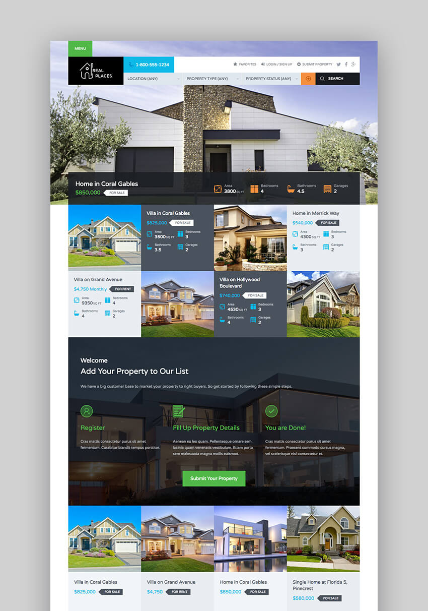 Real Places Responsive WordPress theme for realtors