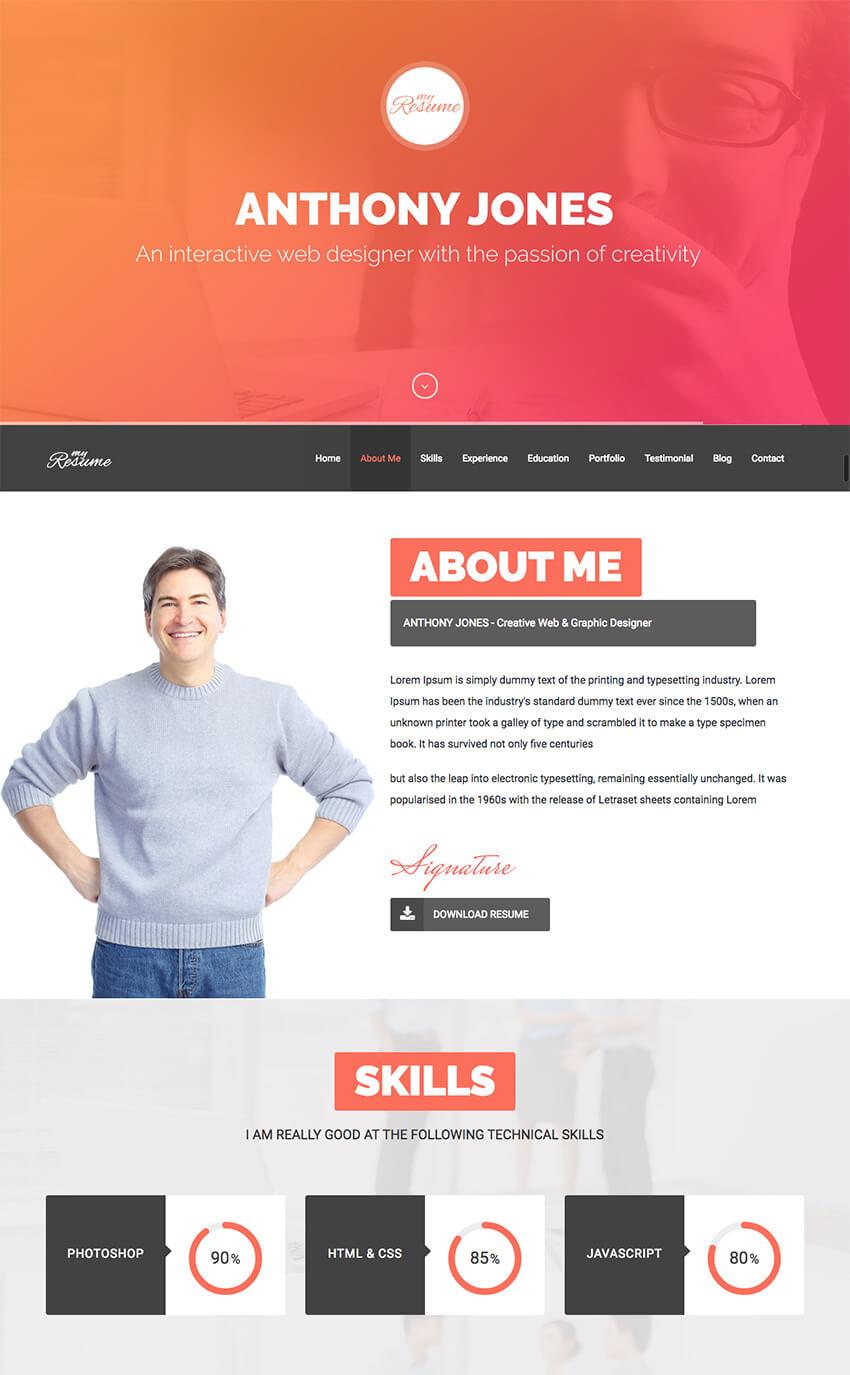 ResumeX Multipurpose WordPress Resume Folio Theme
