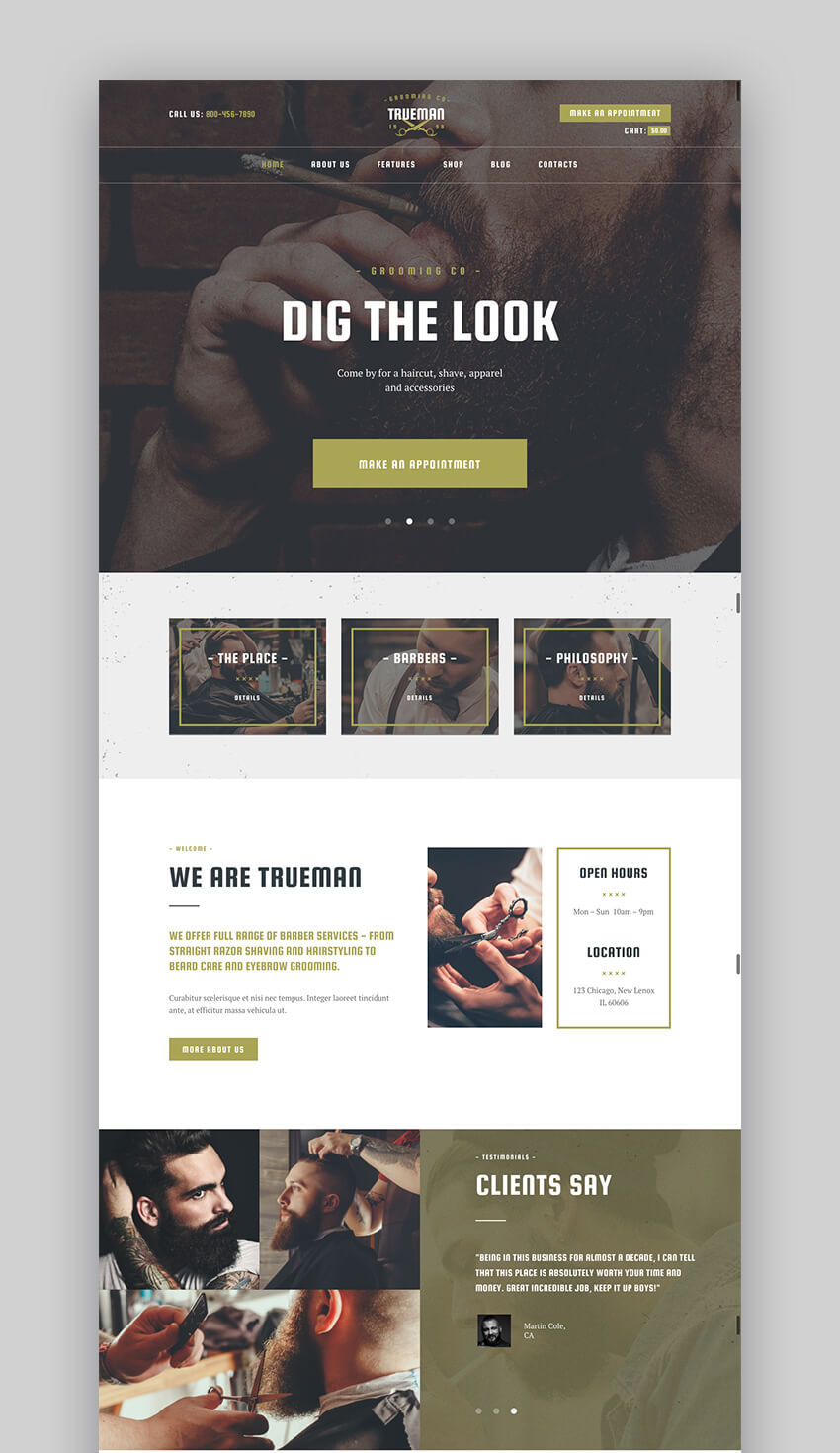 TrueMan hair salon WordPress theme
