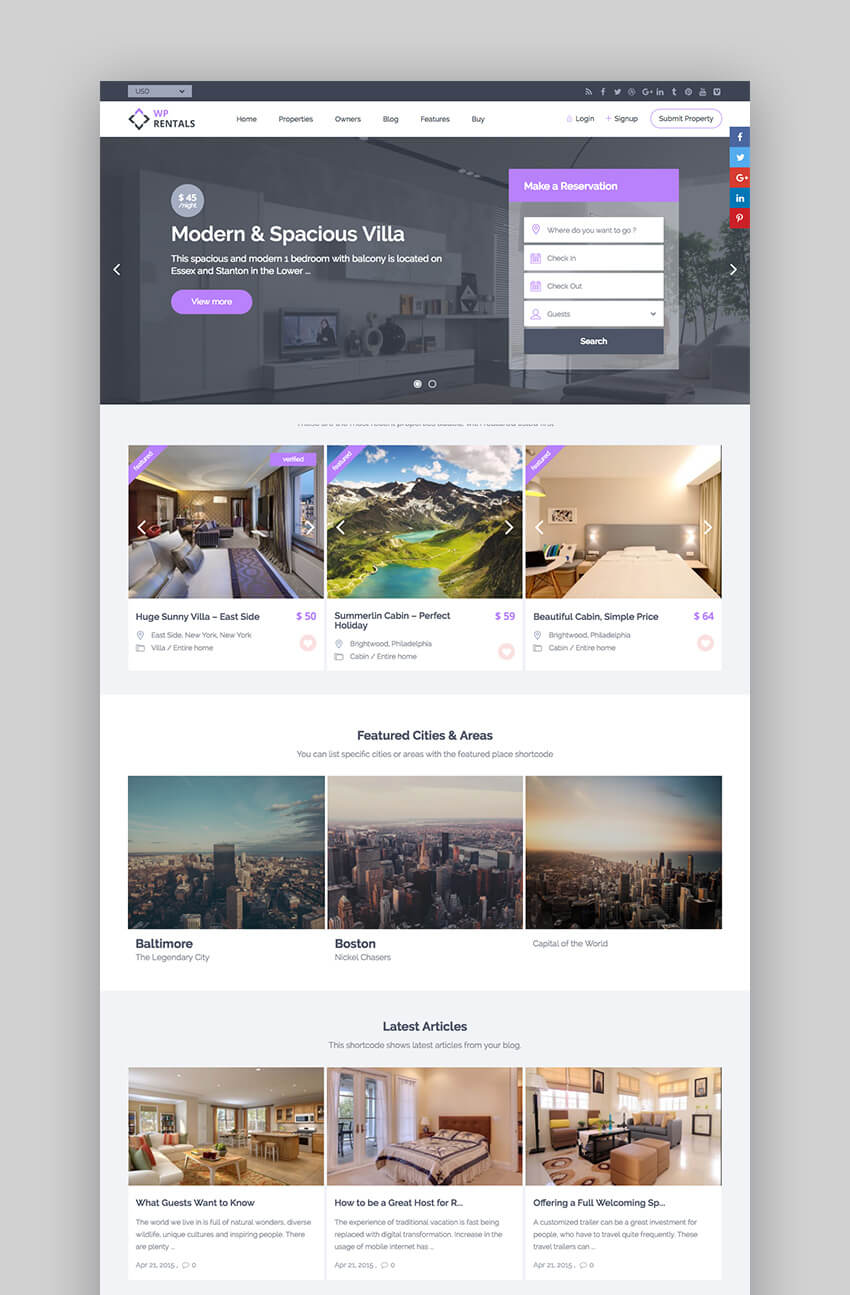 WP Rentals booking WordPress Realty theme