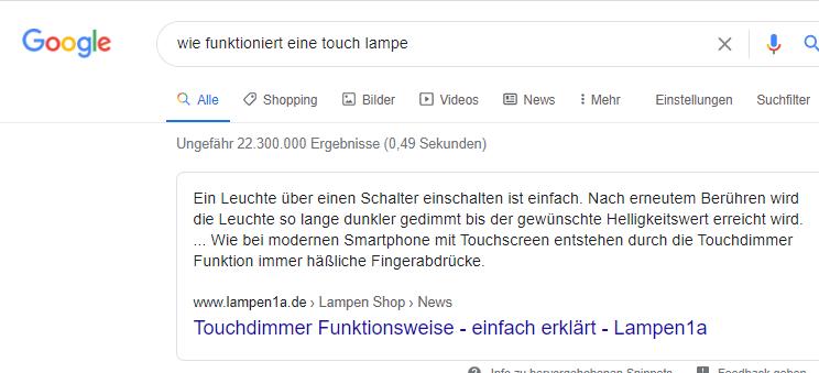 google suche wie funktioniert touch lampe