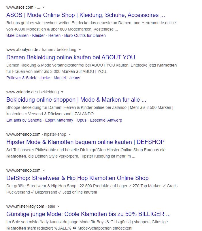 Google Suchergebnis fuer klamotten |