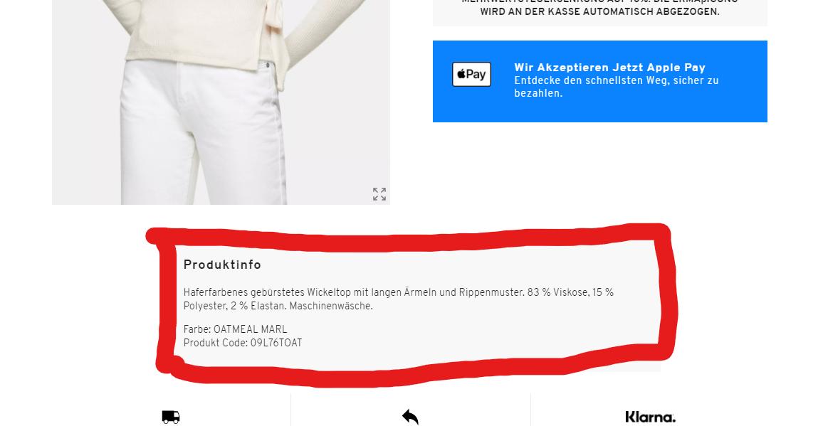 Produktseite Beispiel Onlineshop |