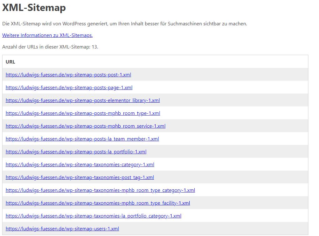 XML Sitemap Uebersicht einer Webseite |